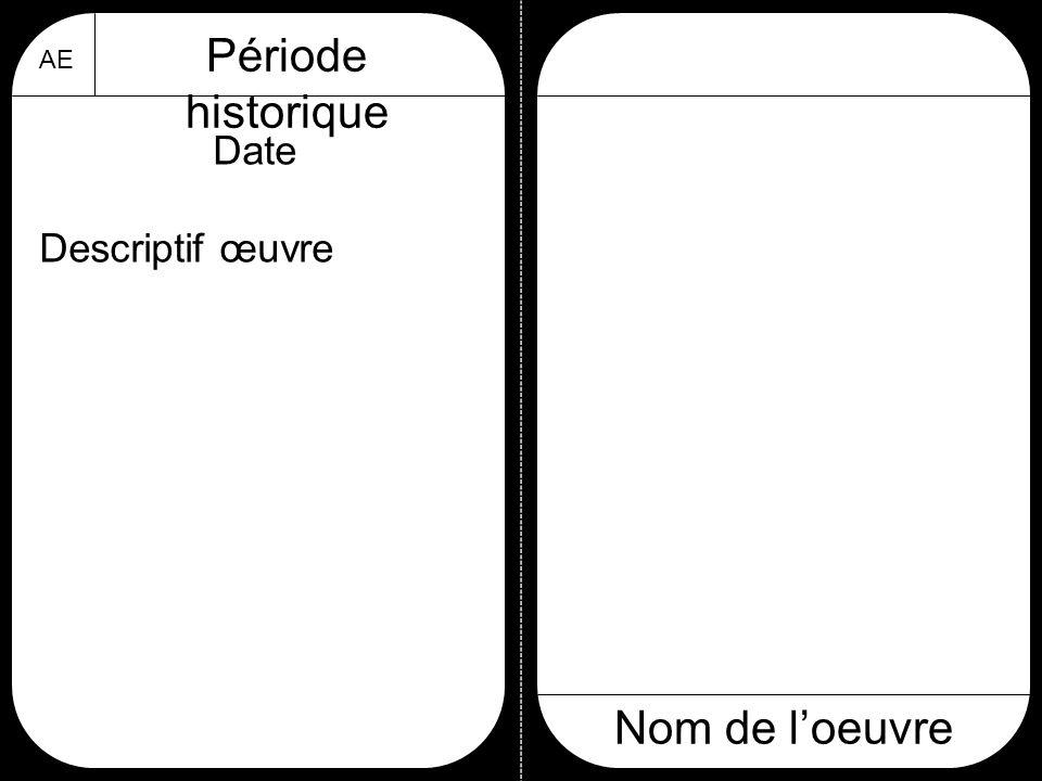 Période historique AE Date Descriptif œuvre Nom de l'oeuvre
