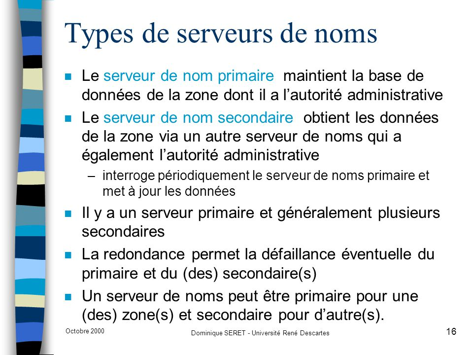 Types de serveurs de noms