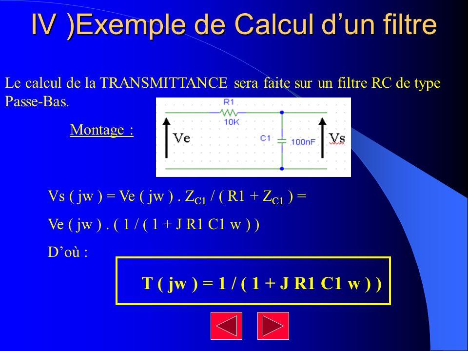 IV )Exemple de Calcul d'un filtre