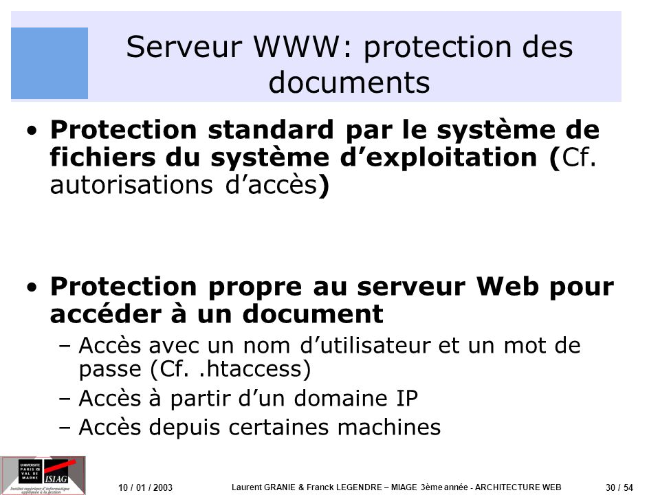 Serveur WWW: protection des documents