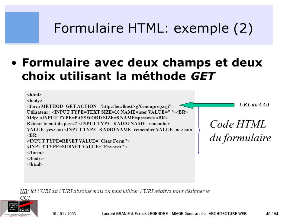 Formulaire HTML: exemple (2)