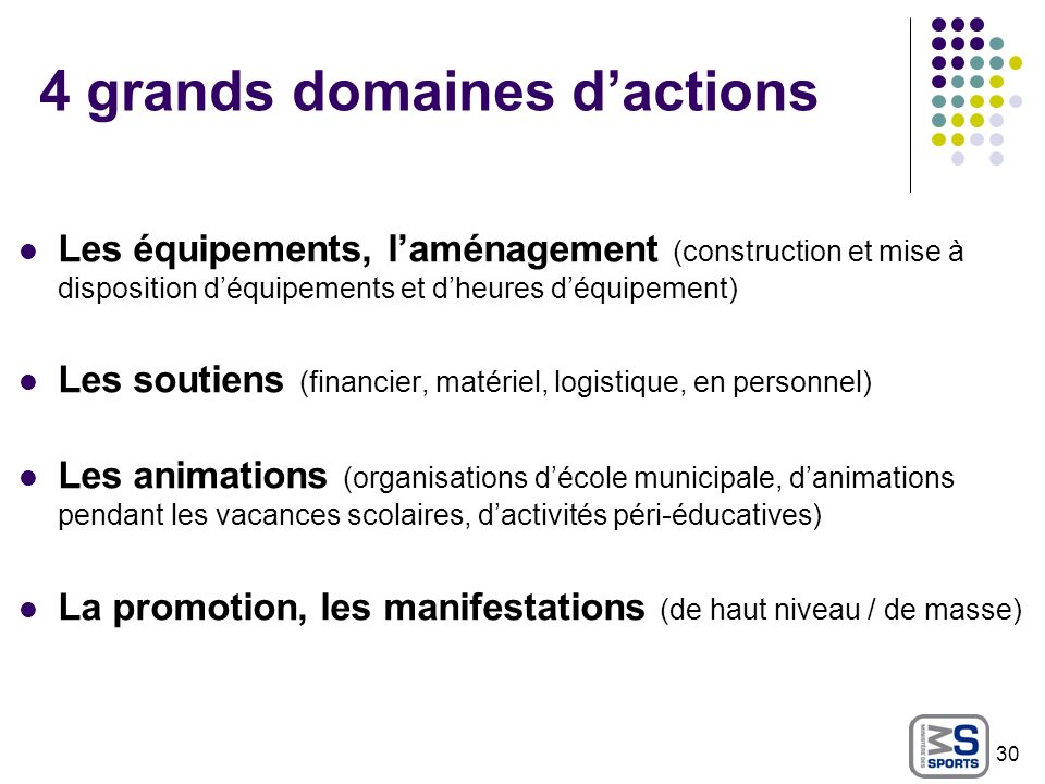 4 grands domaines d'actions