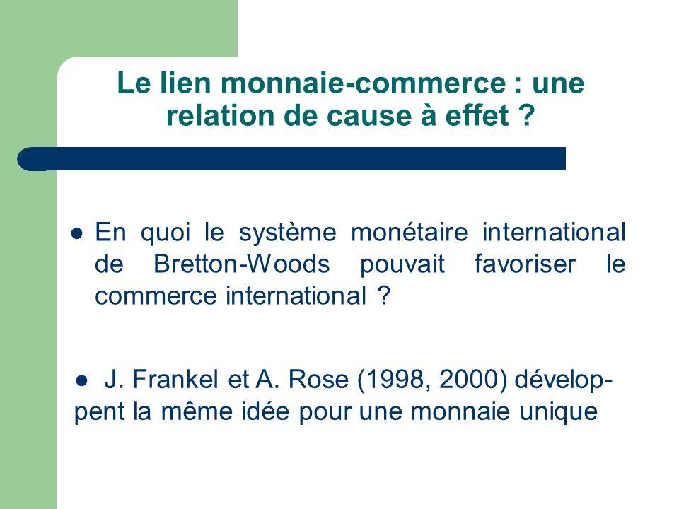 Le lien monnaie-commerce : une relation de cause à effet