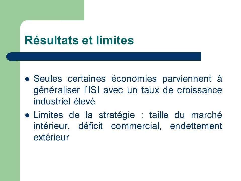 Résultats et limites Seules certaines économies parviennent à généraliser l'ISI avec un taux de croissance industriel élevé.