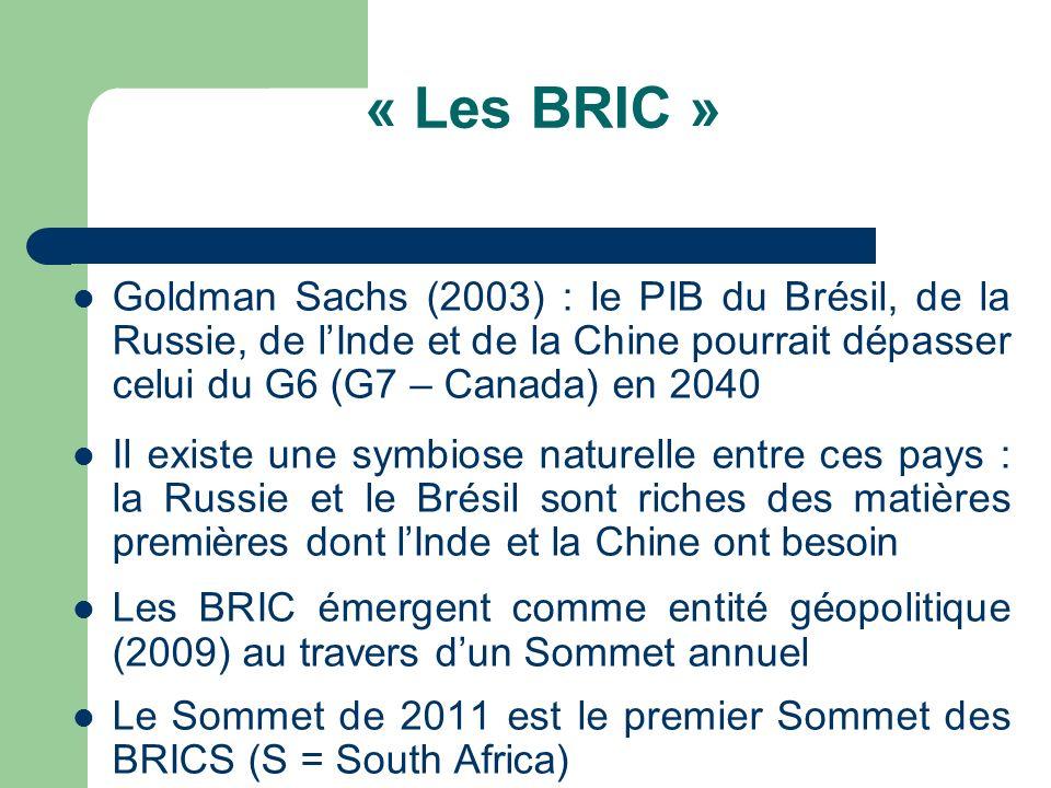« Les BRIC » Goldman Sachs (2003) : le PIB du Brésil, de la Russie, de l'Inde et de la Chine pourrait dépasser celui du G6 (G7 – Canada) en 2040.