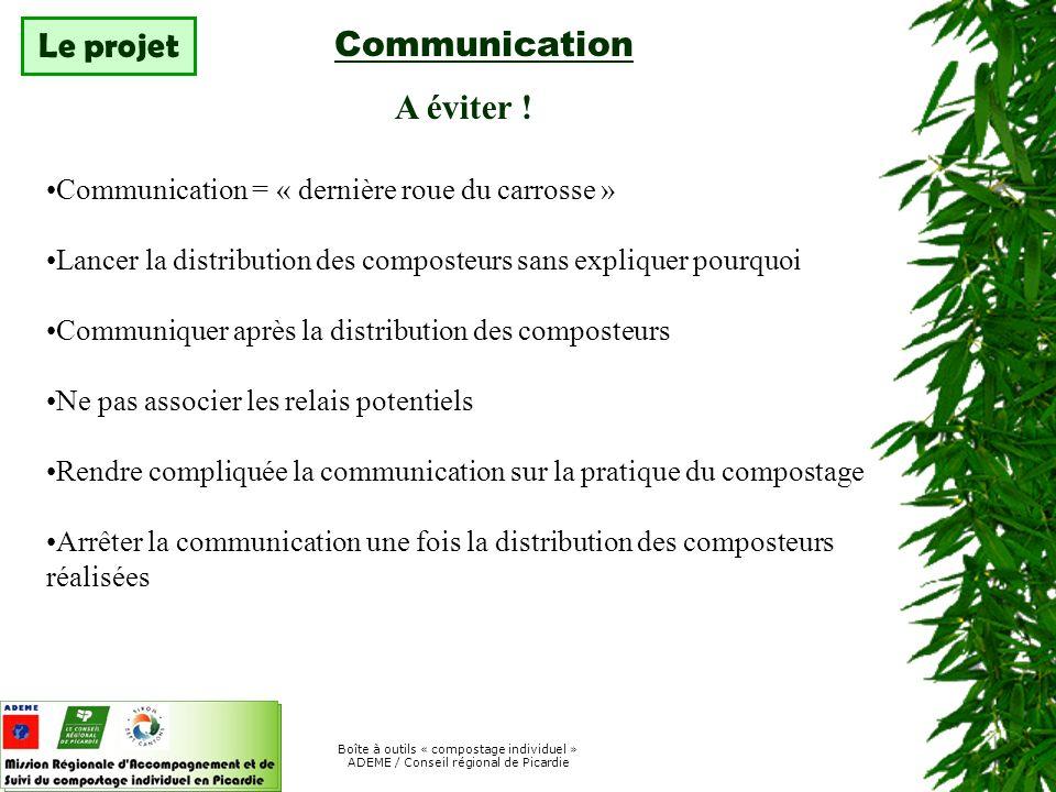 Communication Le projet A éviter !