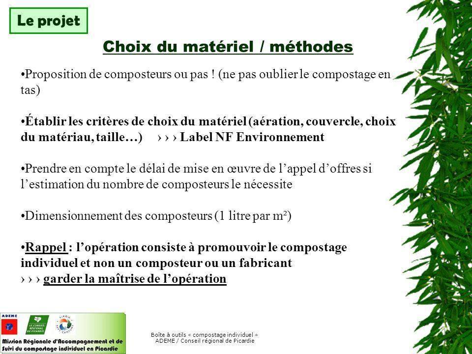 Choix du matériel / méthodes