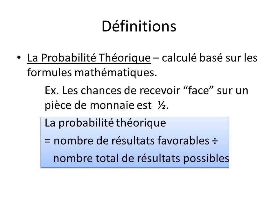 Définitions La Probabilité Théorique – calculé basé sur les formules mathématiques.