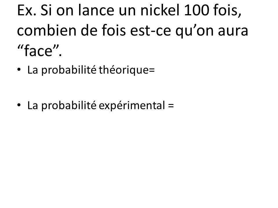Ex. Si on lance un nickel 100 fois, combien de fois est-ce qu'on aura face .