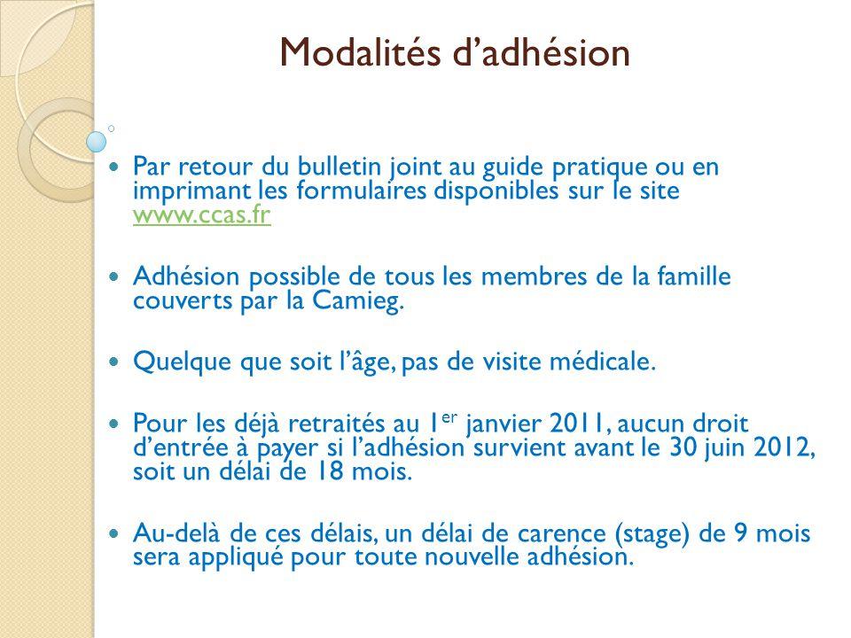 Modalités d'adhésion Par retour du bulletin joint au guide pratique ou en imprimant les formulaires disponibles sur le site www.ccas.fr.