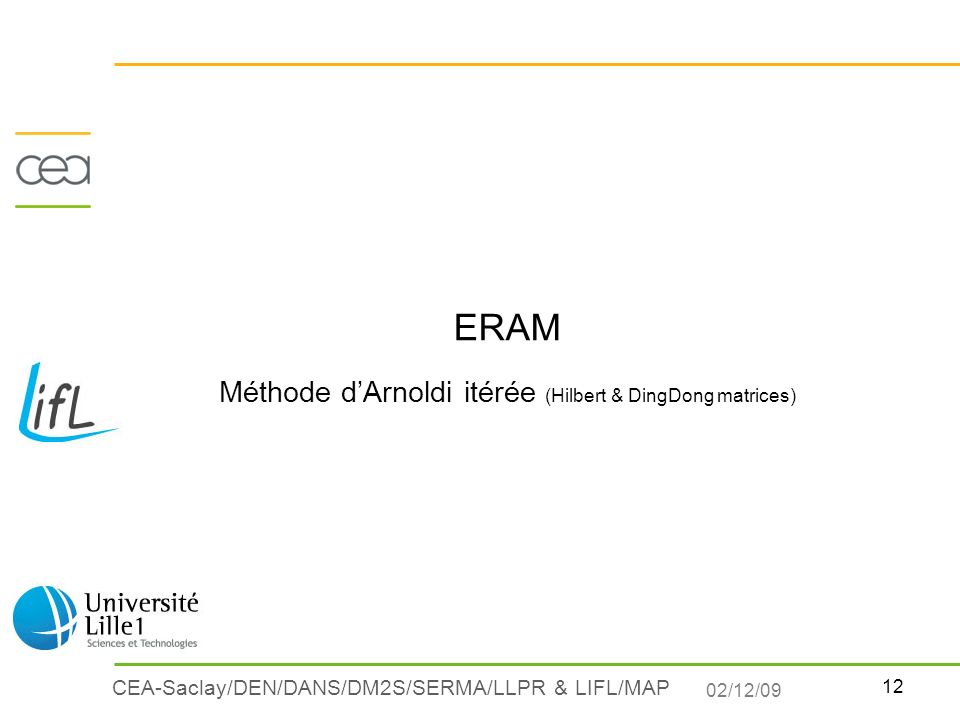ERAM Méthode d'Arnoldi itérée (Hilbert & DingDong matrices)