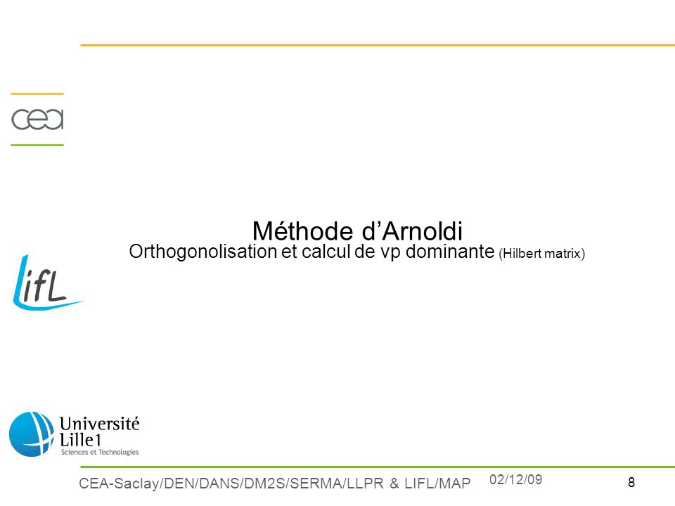 Méthode d'Arnoldi Orthogonolisation et calcul de vp dominante (Hilbert matrix)