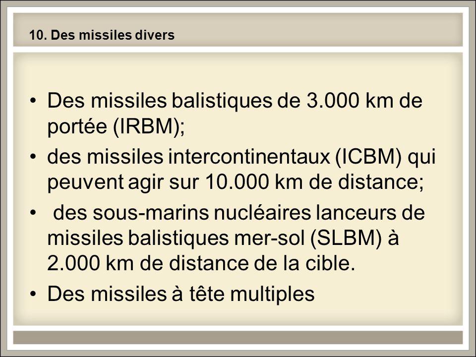Des missiles balistiques de 3.000 km de portée (IRBM);