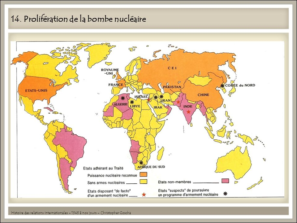 14. Prolifération de la bombe nucléaire