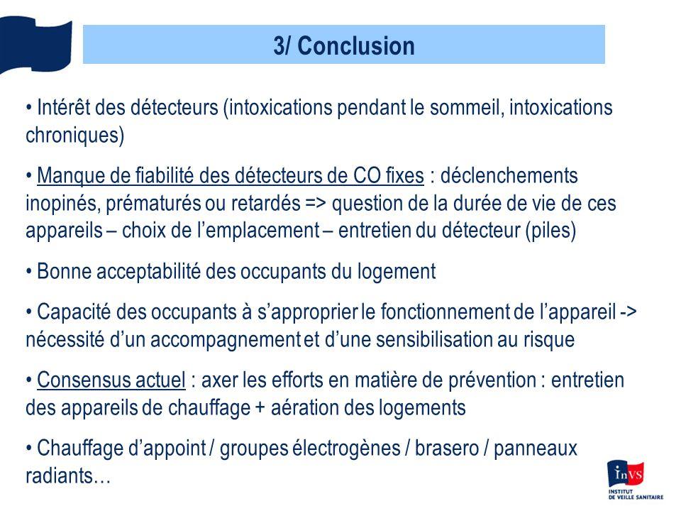 3/ Conclusion Intérêt des détecteurs (intoxications pendant le sommeil, intoxications chroniques)