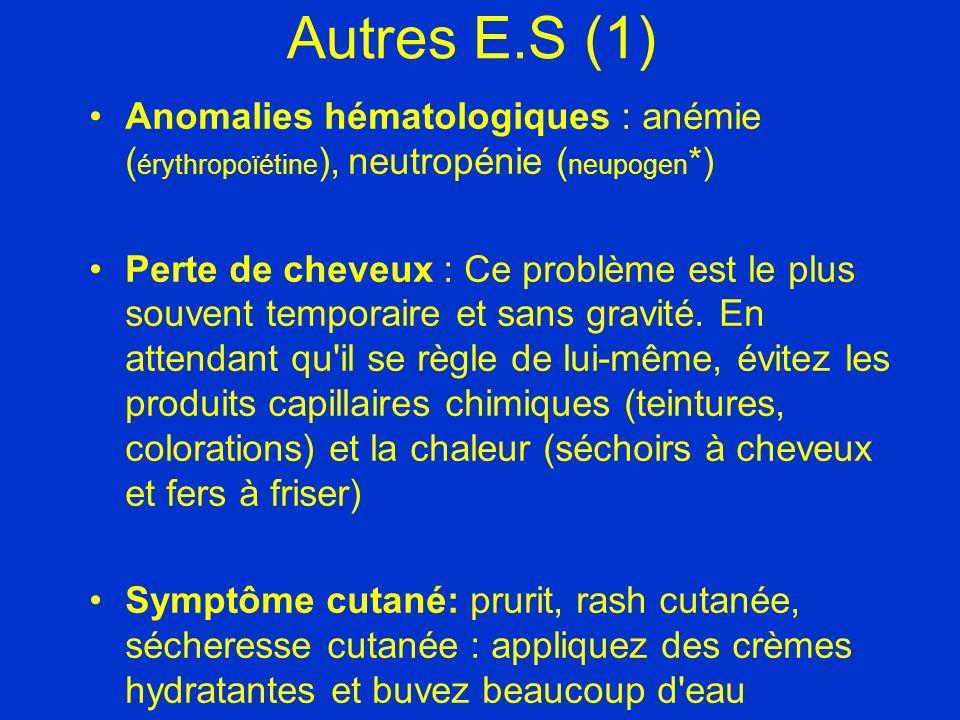 Autres E.S (1) Anomalies hématologiques : anémie (érythropoïétine), neutropénie (neupogen*)