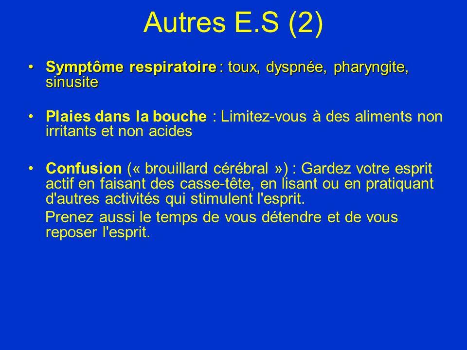 Autres E.S (2) Symptôme respiratoire : toux, dyspnée, pharyngite, sinusite.