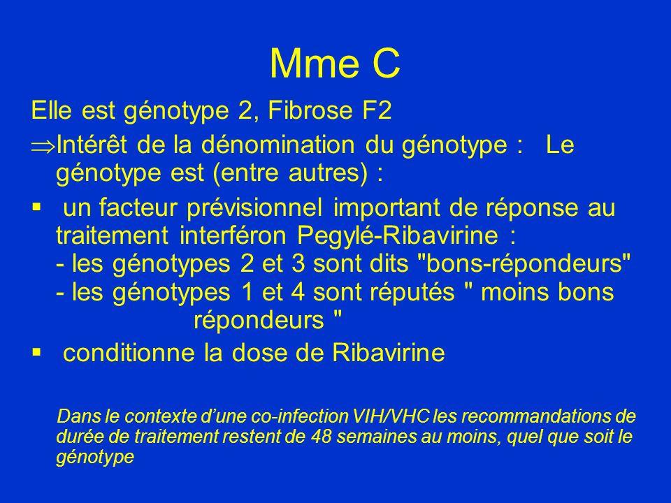 Mme C Elle est génotype 2, Fibrose F2
