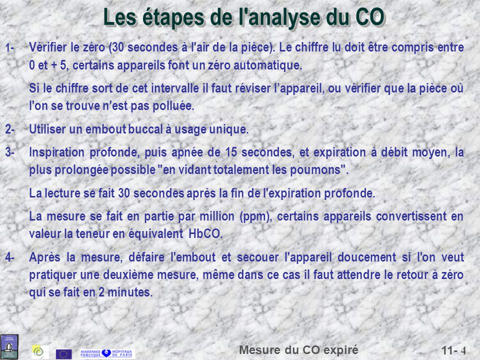 Les étapes de l analyse du CO