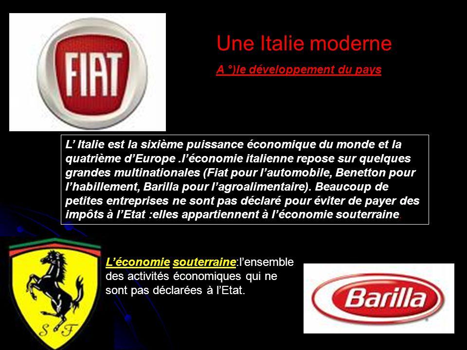 Une Italie moderne A °)le développement du pays