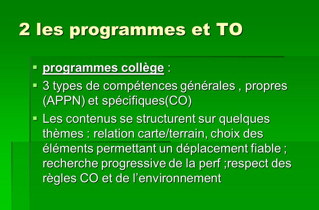 2 les programmes et TO programmes collège :