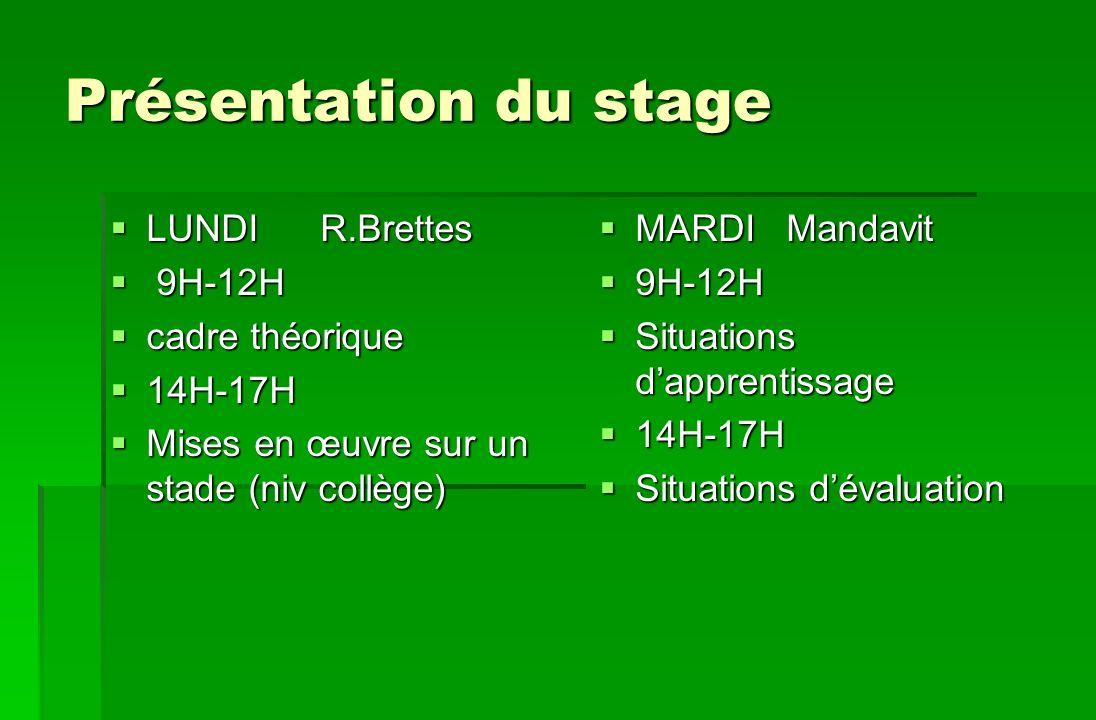 Présentation du stage LUNDI R.Brettes 9H-12H cadre théorique 14H-17H