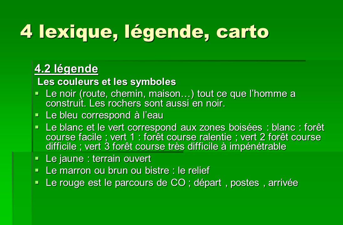 4 lexique, légende, carto 4.2 légende Les couleurs et les symboles