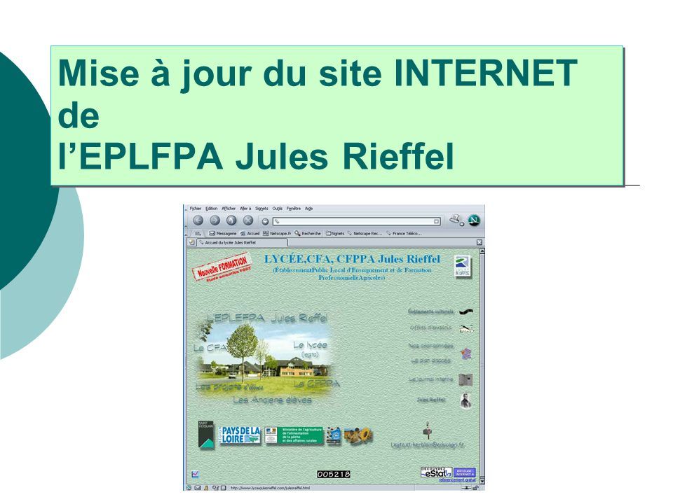 Mise à jour du site INTERNET de l'EPLFPA Jules Rieffel