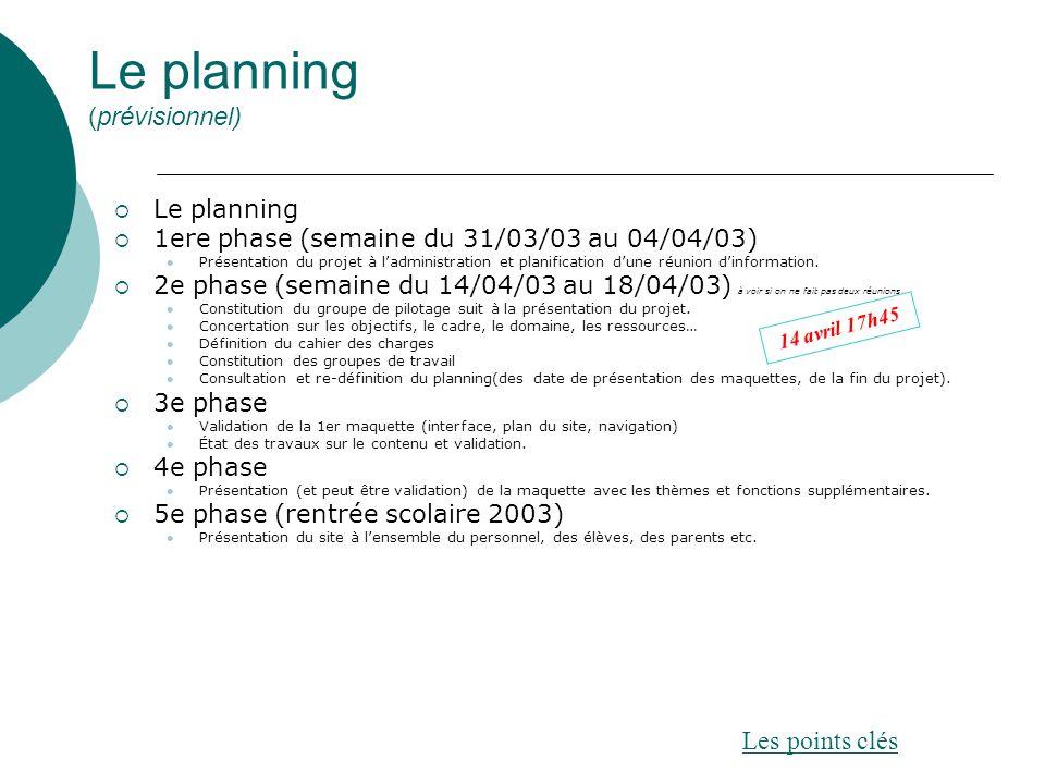Le planning (prévisionnel)