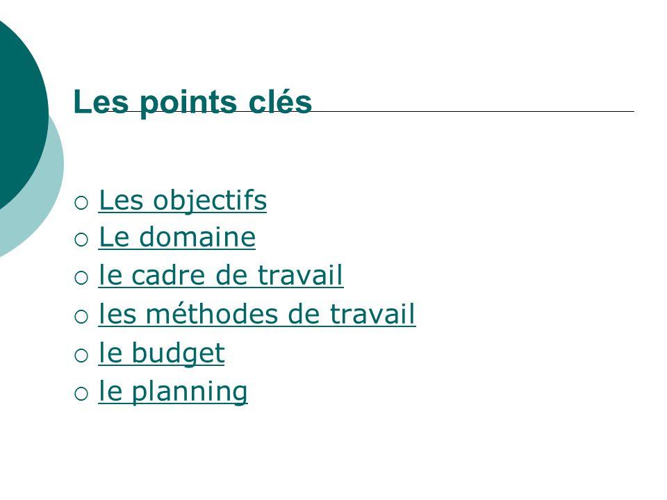 Les points clés Les objectifs Le domaine le cadre de travail