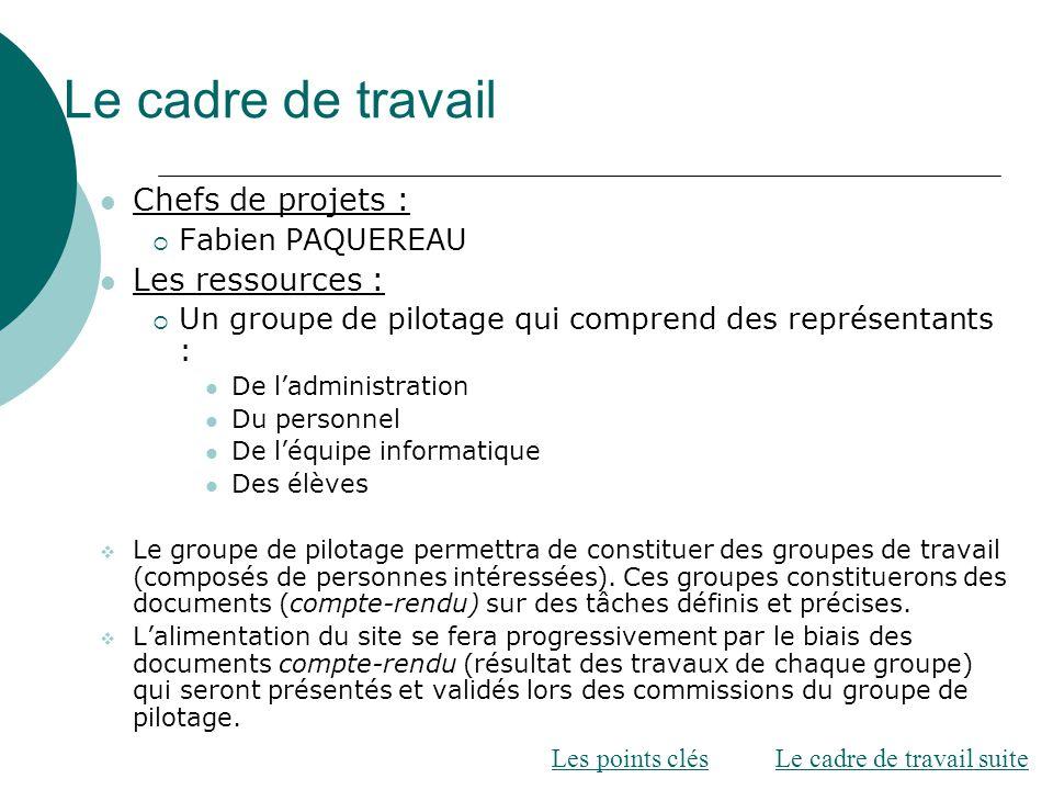 Le cadre de travail Chefs de projets : Les ressources :