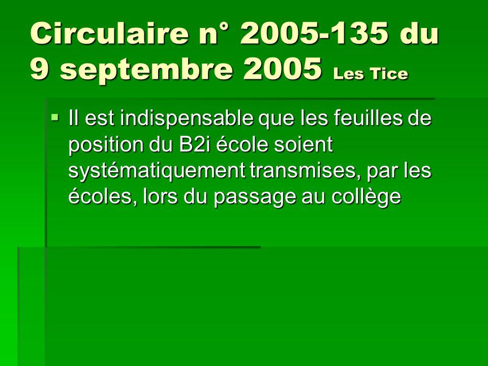 Circulaire n° 2005-135 du 9 septembre 2005 Les Tice