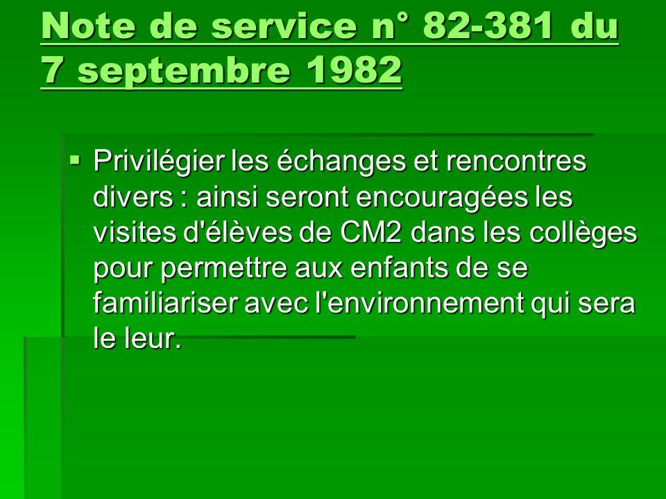 Note de service n° 82-381 du 7 septembre 1982
