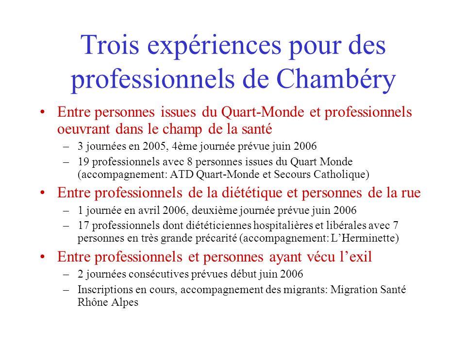Trois expériences pour des professionnels de Chambéry