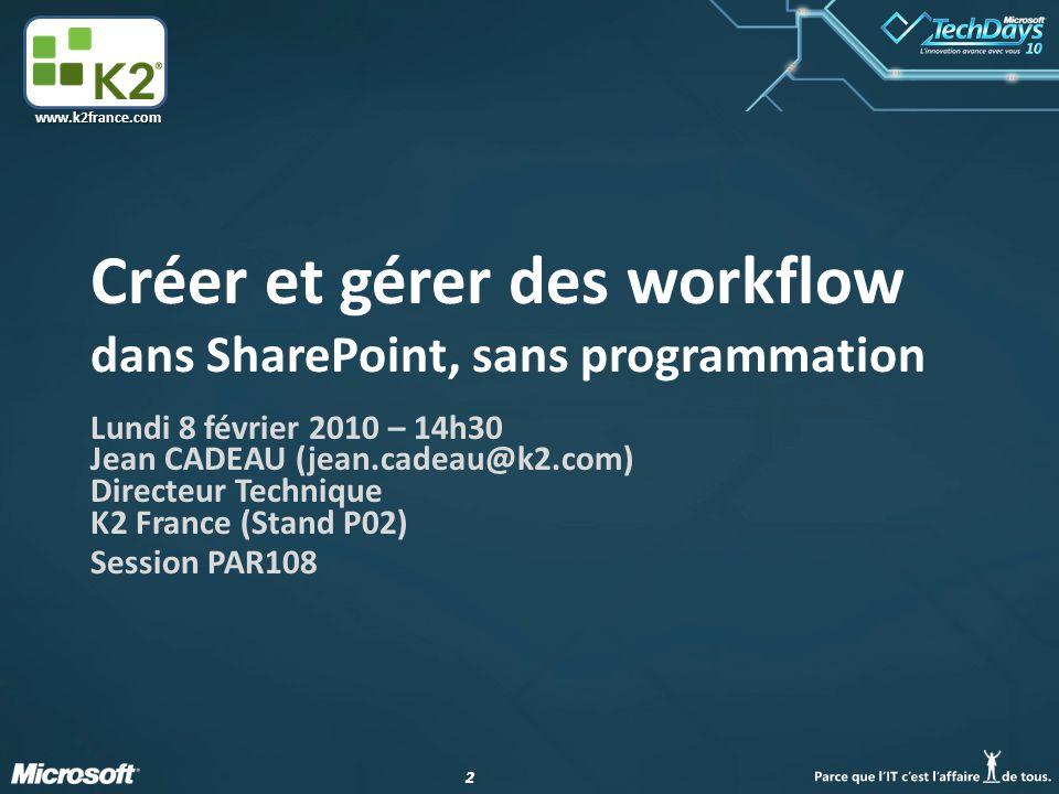 Créer et gérer des workflow dans SharePoint, sans programmation