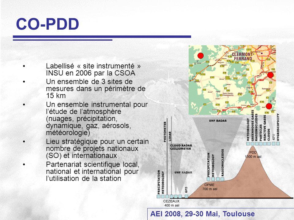 CO-PDD Labellisé « site instrumenté » INSU en 2006 par la CSOA