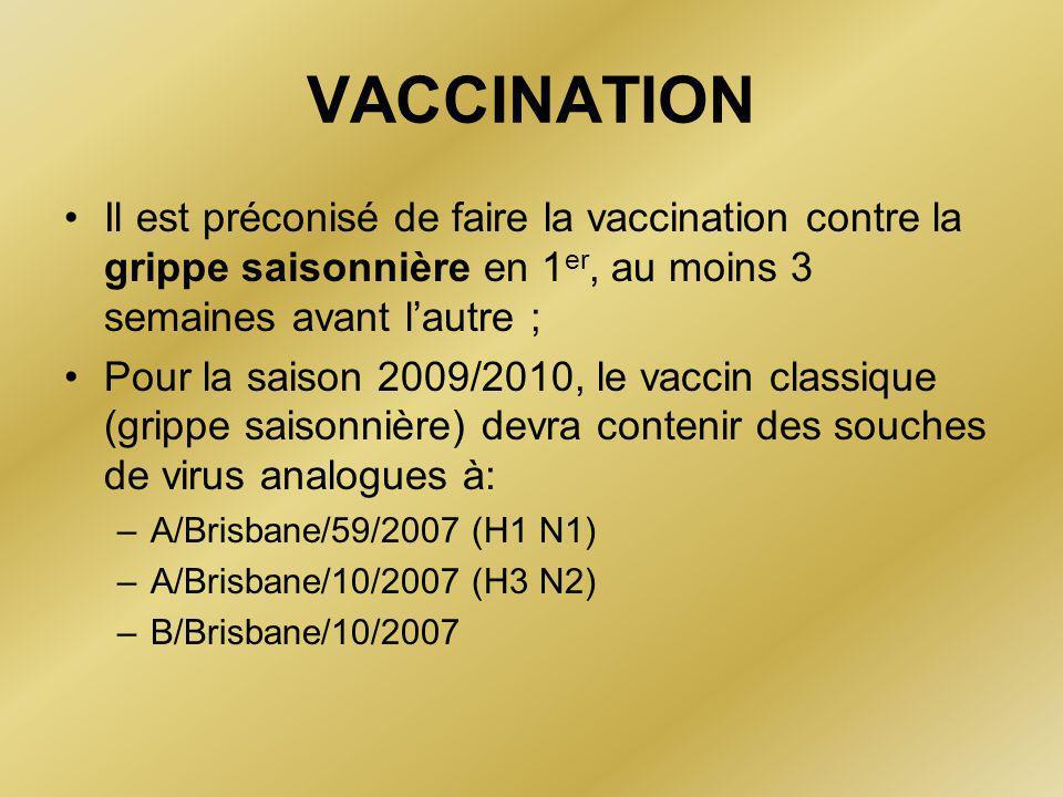 VACCINATION Il est préconisé de faire la vaccination contre la grippe saisonnière en 1er, au moins 3 semaines avant l'autre ;