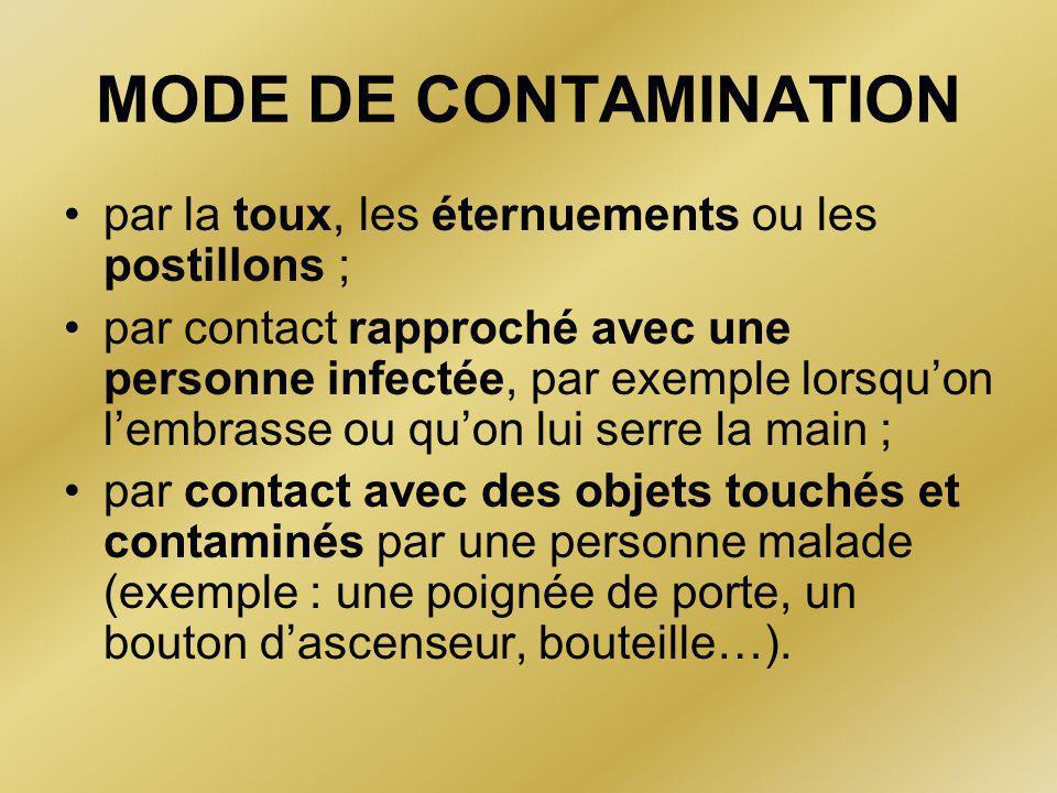 MODE DE CONTAMINATION par la toux, les éternuements ou les postillons ;