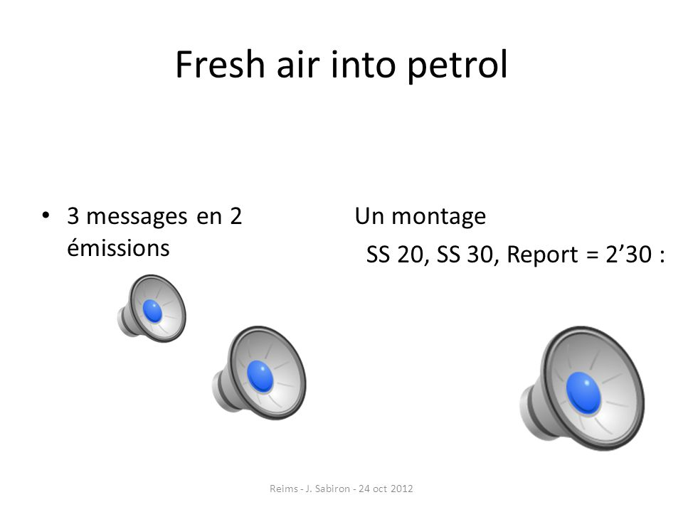 Fresh air into petrol 3 messages en 2 émissions Un montage