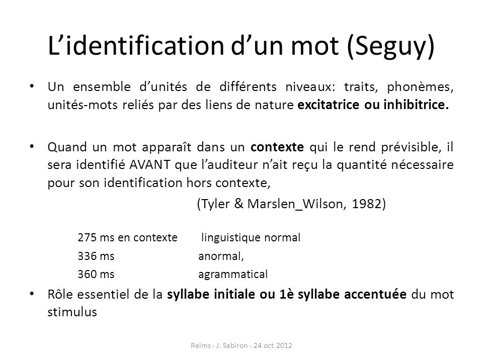 L'identification d'un mot (Seguy)