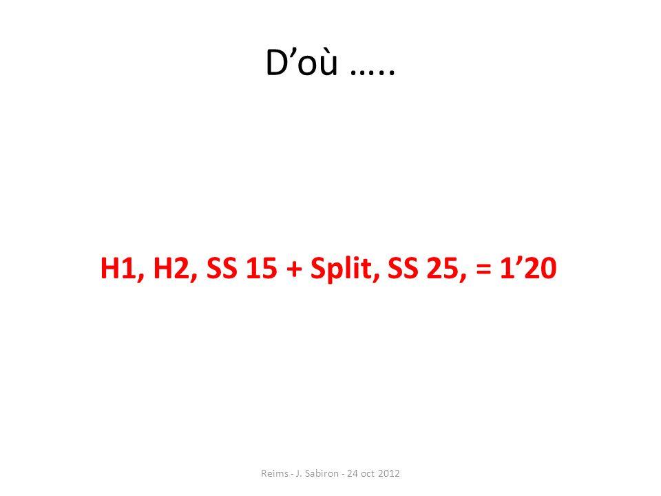 D'où ….. H1, H2, SS 15 + Split, SS 25, = 1'20 Reims - J. Sabiron - 24 oct 2012