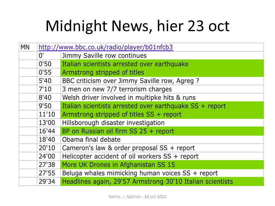Midnight News, hier 23 oct Reims - J. Sabiron - 24 oct 2012