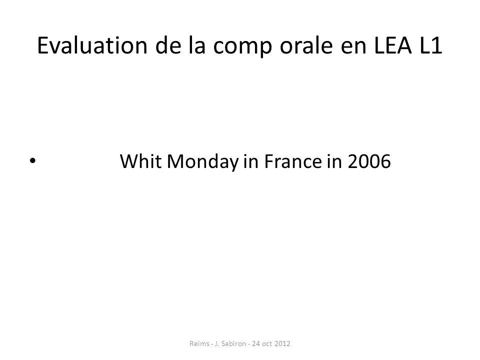 Evaluation de la comp orale en LEA L1
