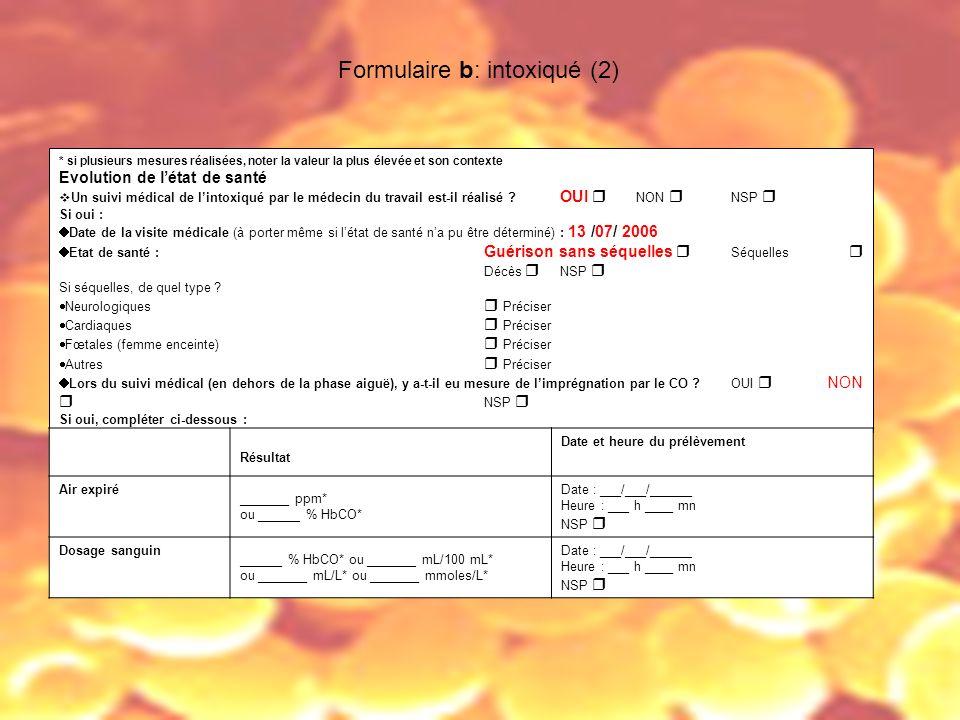 Formulaire b: intoxiqué (2)