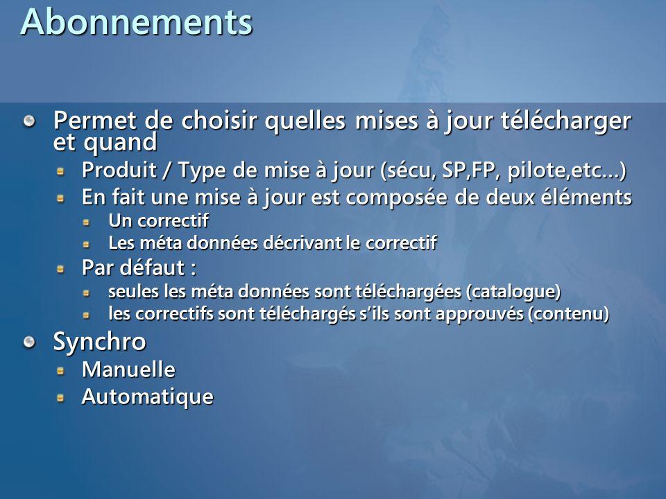 Abonnements Permet de choisir quelles mises à jour télécharger et quand. Produit / Type de mise à jour (sécu, SP,FP, pilote,etc…)