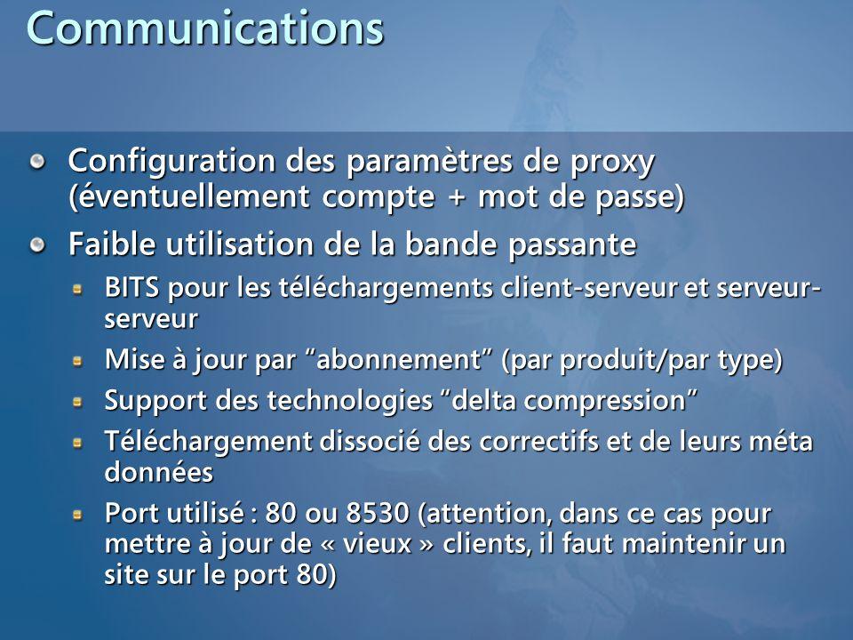 Communications Configuration des paramètres de proxy (éventuellement compte + mot de passe) Faible utilisation de la bande passante.