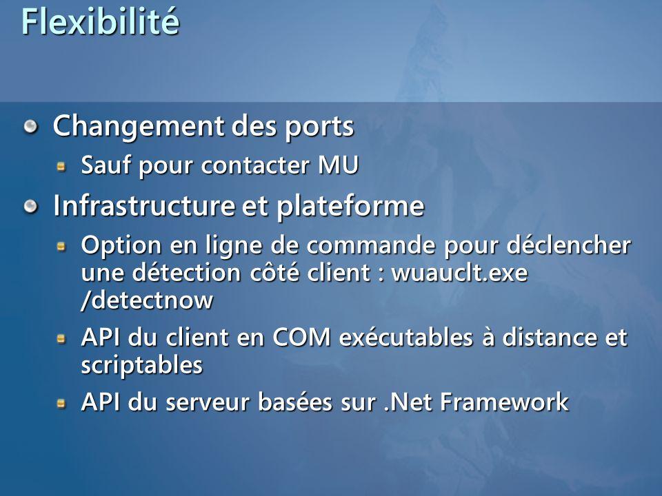 Flexibilité Changement des ports Infrastructure et plateforme