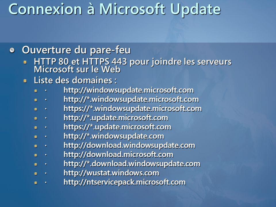 Connexion à Microsoft Update
