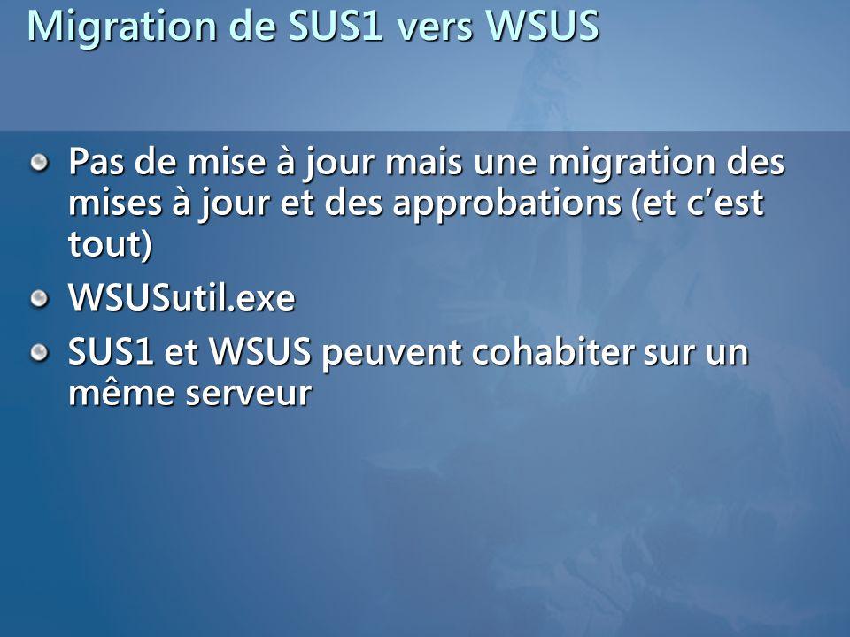 Migration de SUS1 vers WSUS