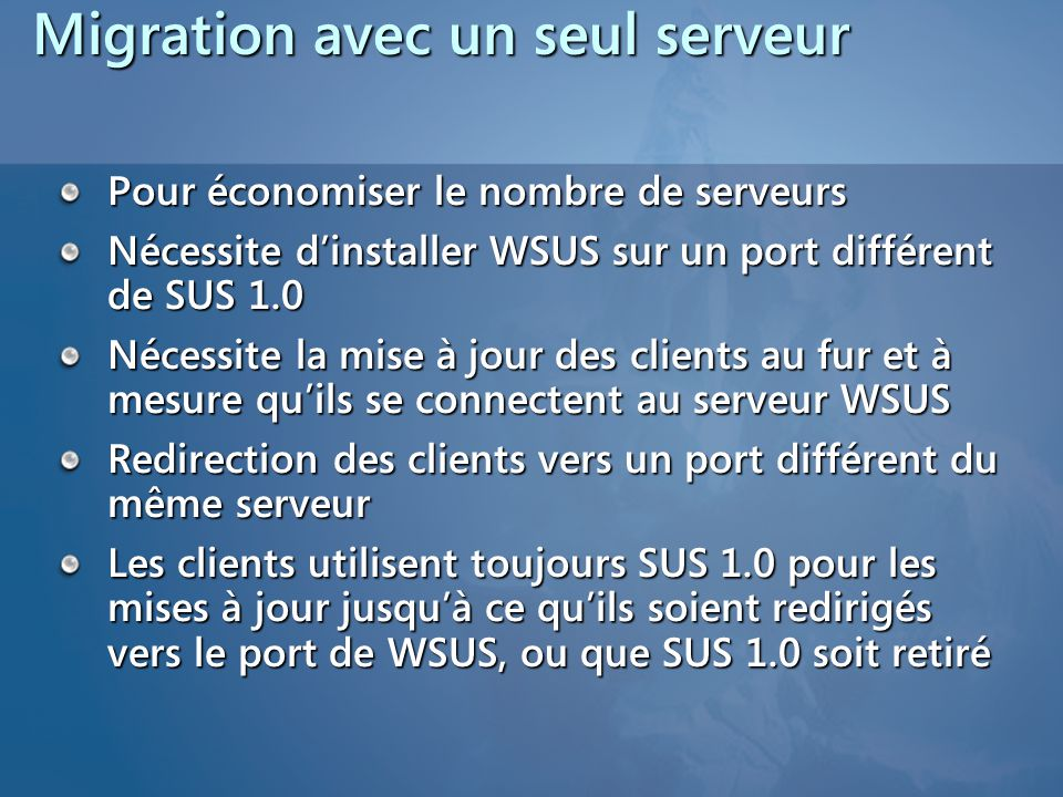 Migration avec un seul serveur
